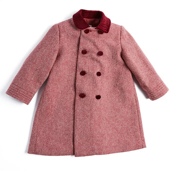 Traditional Burgundy Double-Breasted Wool Coat - COAT - PEPA AND CO