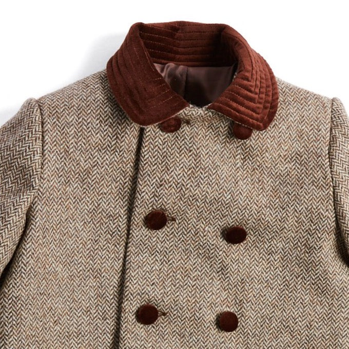 Traditional Brown Double-Breasted Wool Coat - Coat - PEPA AND CO