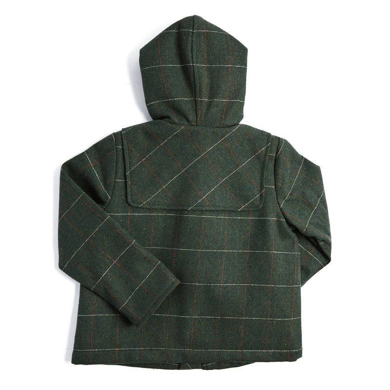 Dark Green Checked Duffle Coat - COAT - PEPA AND CO