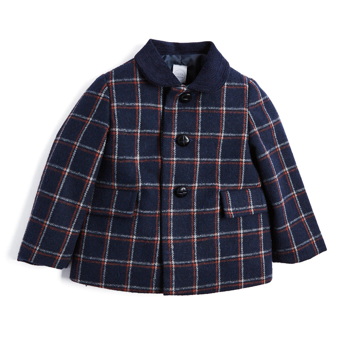 Navy Checked Wool Coat with Corduroy Collar - Coat - PEPA AND CO