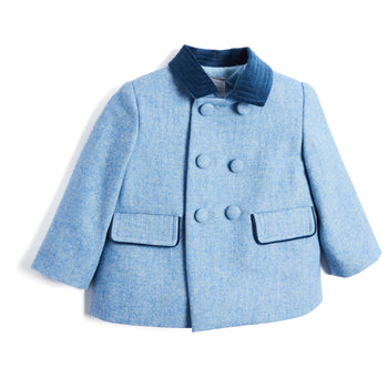 Light Blue Double-Breasted Wool Coat with Velvet Collar - Coat - PEPA AND CO