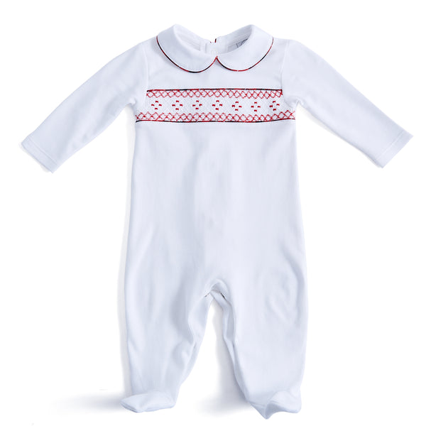 White All-in-One with Red Handsmocked Detailing - NIGHTWEAR - PEPA AND CO