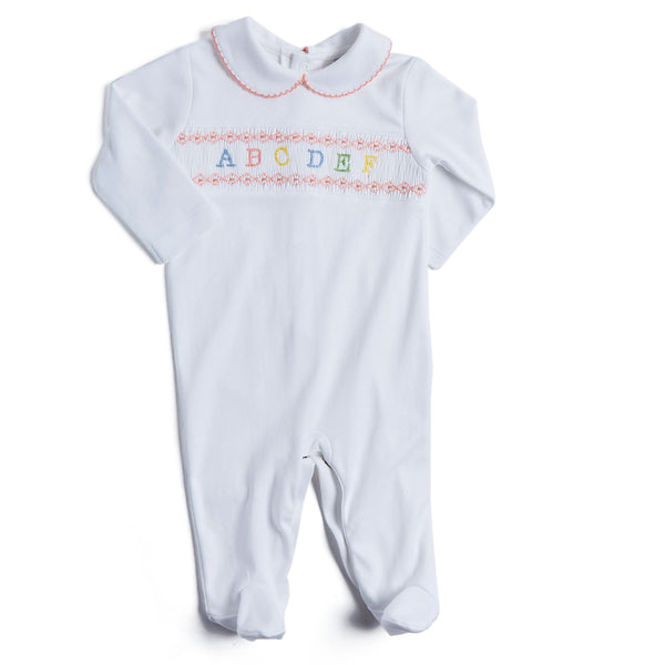 Newborn All-in-One with Pink ABC Detailing - NIGHTWEAR - PEPA AND CO
