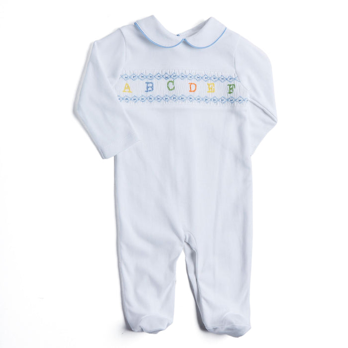 White All-in-One with Blue ABC Detailing - NIGHTWEAR - PEPA AND CO