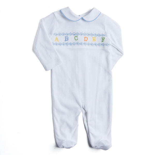 Newborn All-in-One with Blue ABC Detailing - NIGHTWEAR - PEPA AND CO