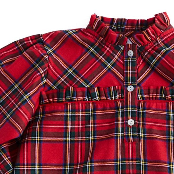 Girls Red Tartan Check Pyjamas - NIGHTWEAR - PEPA AND CO
