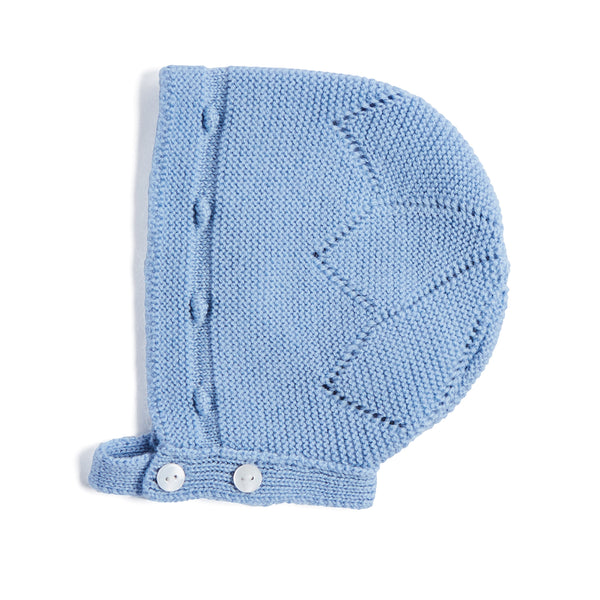 Blue Knitted Wool Bonnet - KNITTED ACC - PEPA AND CO