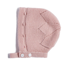 Pink Knitted Wool Bonnet - KNITTED ACC - PEPA AND CO