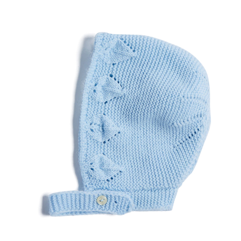 Blue Knitted Openwork Bonnet - KNITTED ACC - PEPA AND CO
