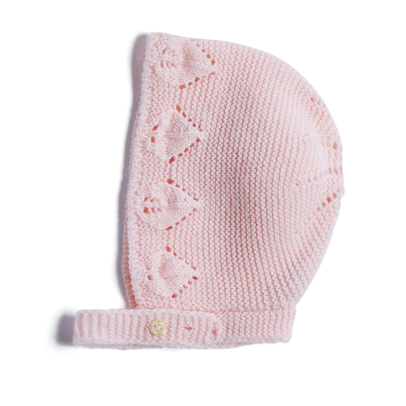 Pink Knitted Openwork Bonnet - KNITTED ACC - PEPA AND CO