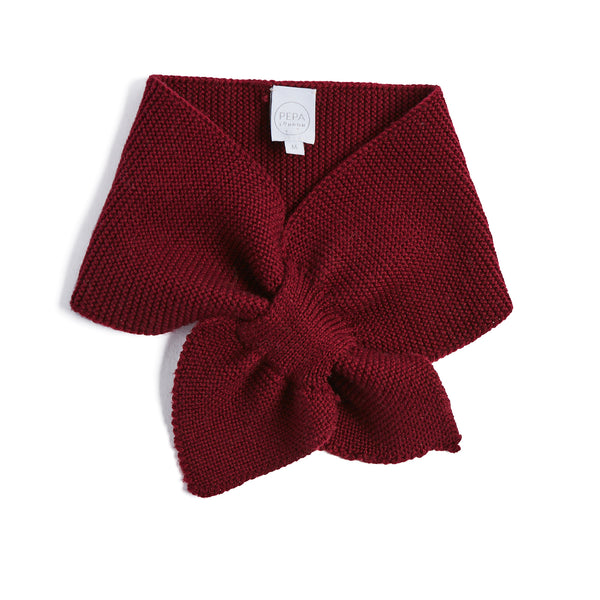 Burgundy Knitted Winter Scarf - KNITTED ACC - PEPA AND CO