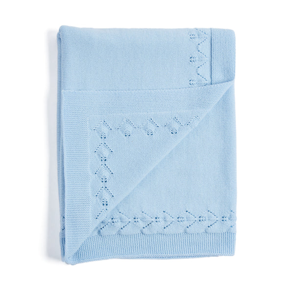 Blue Knitted Openwork Blanket - Blanket - PEPA AND CO