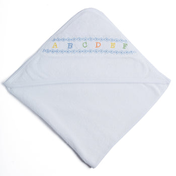 White Towel with Blue ABC Detailing - Accessories - PEPA AND CO
