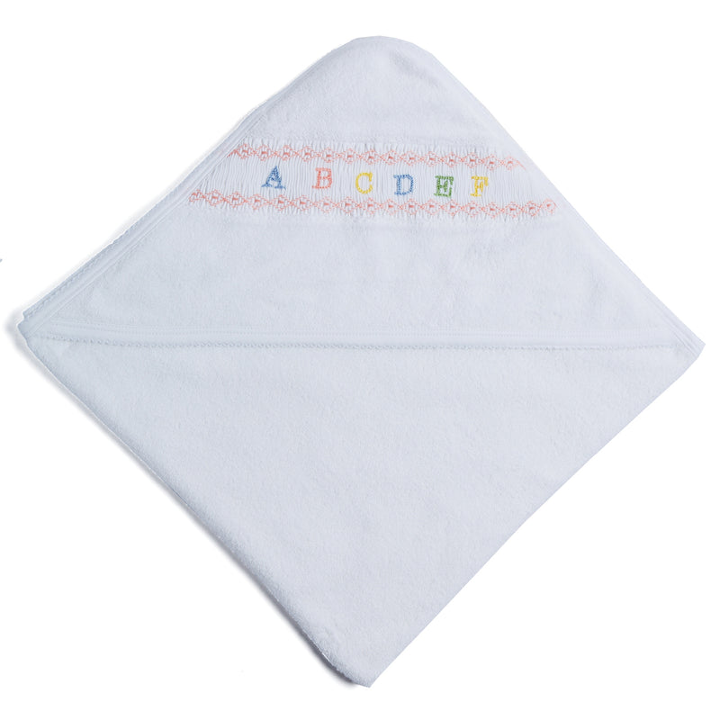 White Towel with Pink ABC Detailing - TOWEL - PEPA AND CO