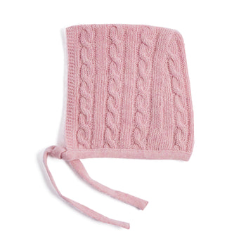 Pink Cashmere Knitted Bonnet - KNITTED ACC - PEPA AND CO