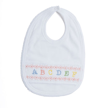 Pink Handsmocked Bib with ABC Detailing - BIB - PEPA AND CO