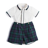 Green Tartan Shirt & Short Set - SET - PEPA AND CO