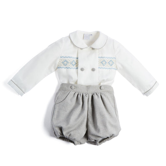 Grey Handsmocked Shirt & Bloomer Set - SET - PEPA AND CO
