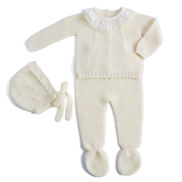 Cream Knitted Wool set with Lace Collar and Bonnet - KNITTED - PEPA AND CO