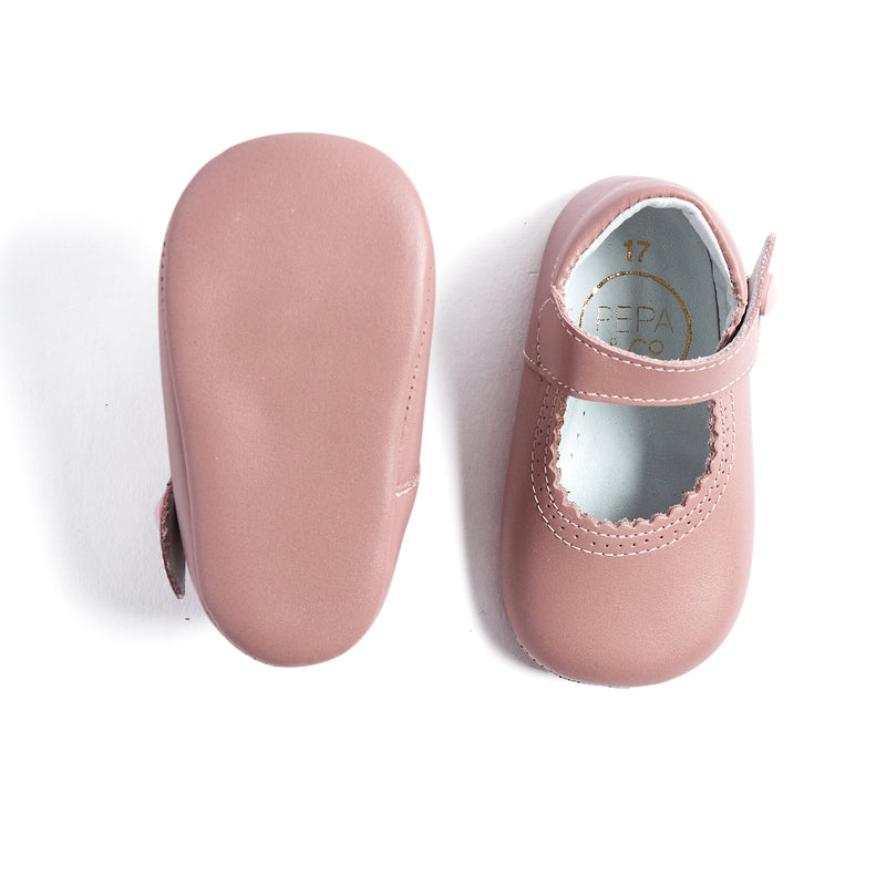 Leather Pink Mary Jane Pram Shoes