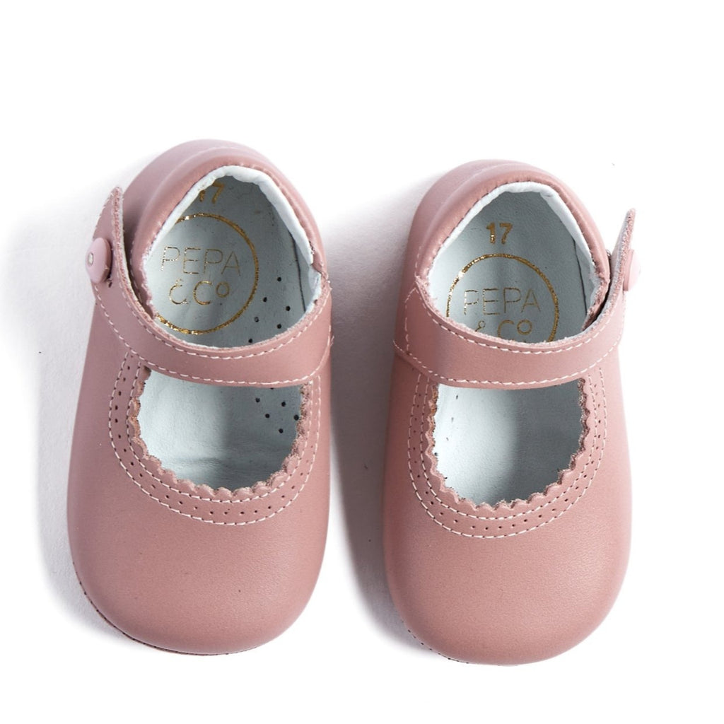Leather Pink Mary Jane Pram Shoes - SHOES - PEPA AND CO