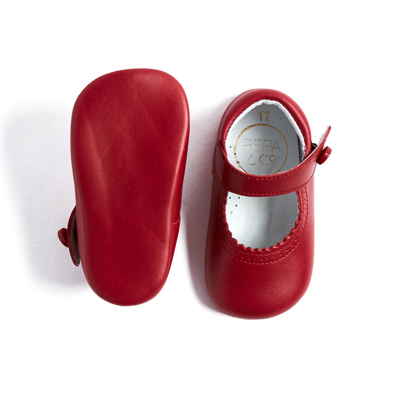 Leather Red Mary Jane Pram Shoes - SHOES - PEPA AND CO