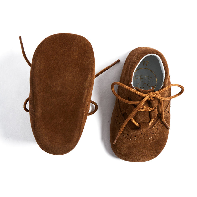 Brown Suede Oxford Pram Booties - SHOES - PEPA AND CO
