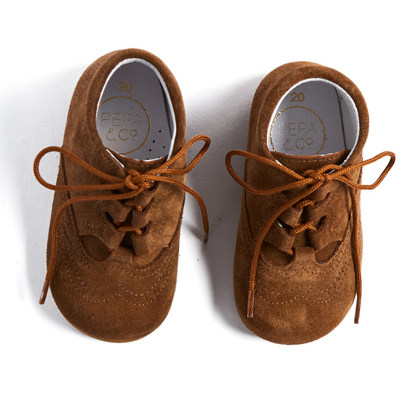 Brown Suede Oxford Baby Booties - SHOES - PEPA AND CO