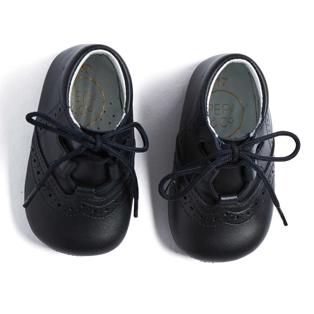 Navy Oxford Pram Booties - SHOES - PEPA AND CO