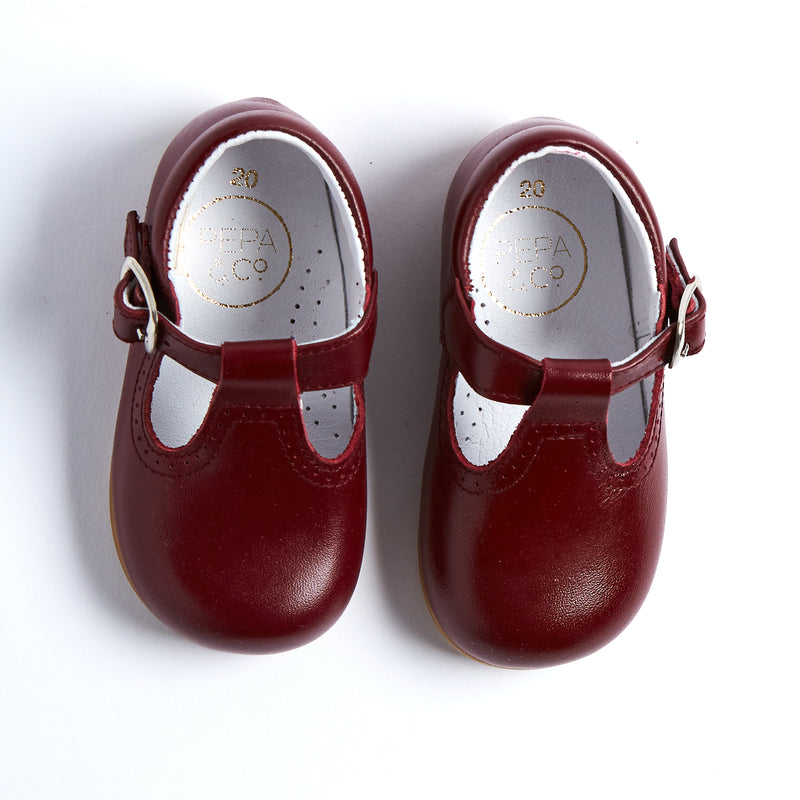 Leather Burgundy T-Bar Baby Shoes - SHOES - PEPA AND CO