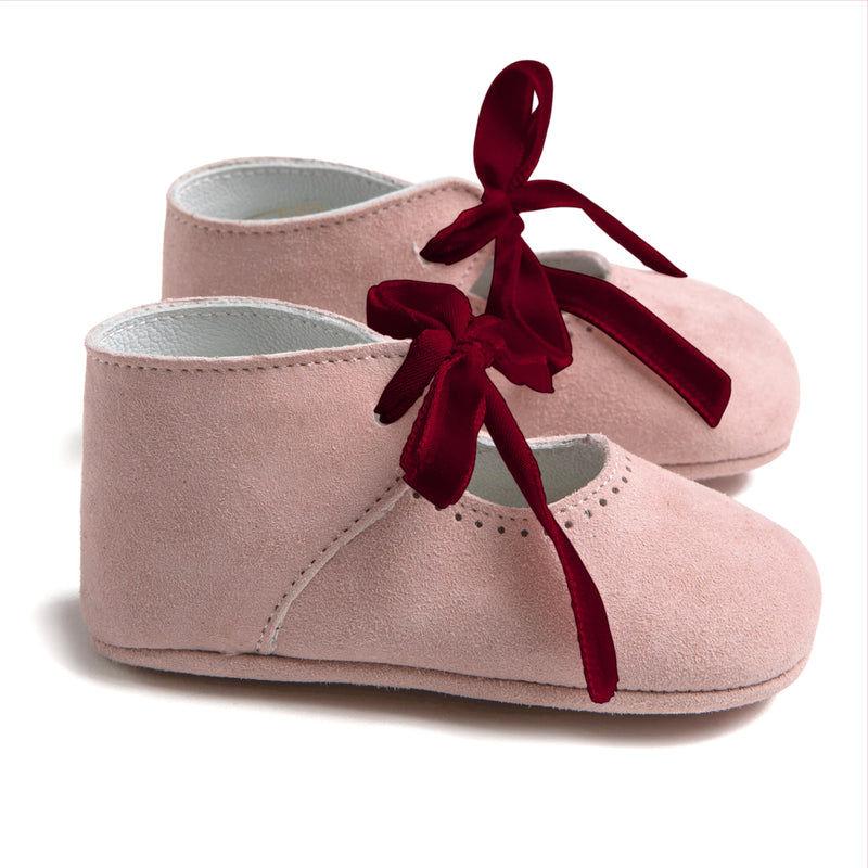 Pink Suede Pram Shoes with Ribbon - SHOES - PEPA AND CO
