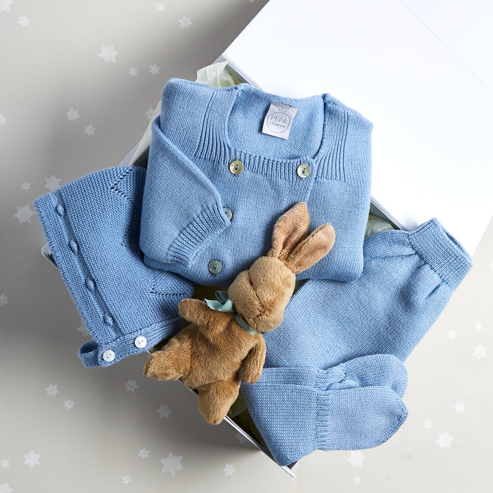 Blue Knitted Wool 3 Piece Gift Set - GIFT SET - PEPA AND CO