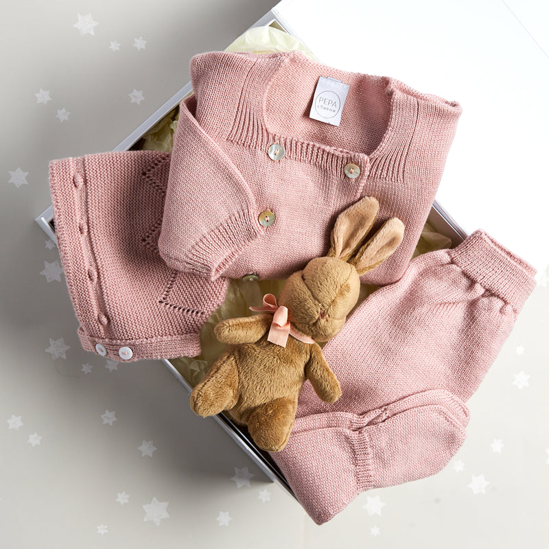 Pink Knitted Wool 3 Piece Gift Set - GIFT SET - PEPA AND CO