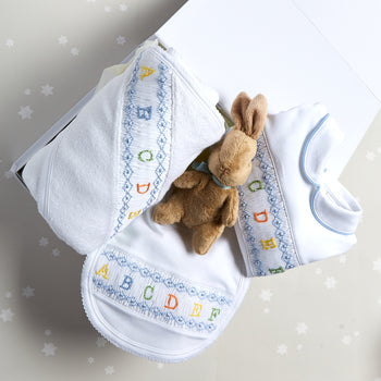 Essential ABC Handsmocked 3 Piece Gift Set in Blue - Gift Set - PEPA AND CO