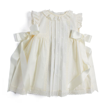 Cream Christening Gown with Side Satin Bows - CHRISTENING GOWN - PEPA AND CO