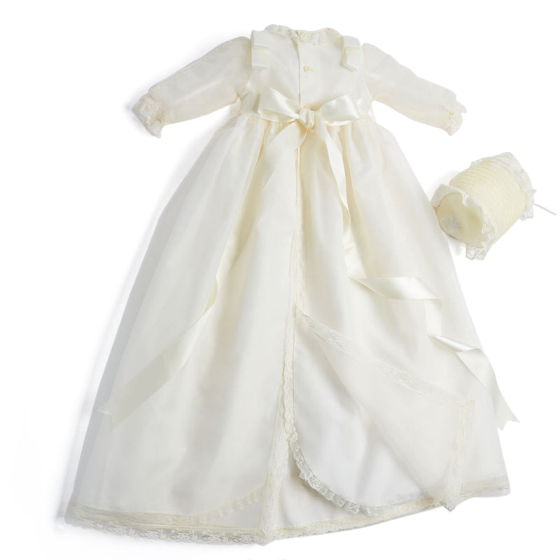 Traditional Cream Christening Gown with Bonnet - CHRISTENING GOWN - PEPA AND CO