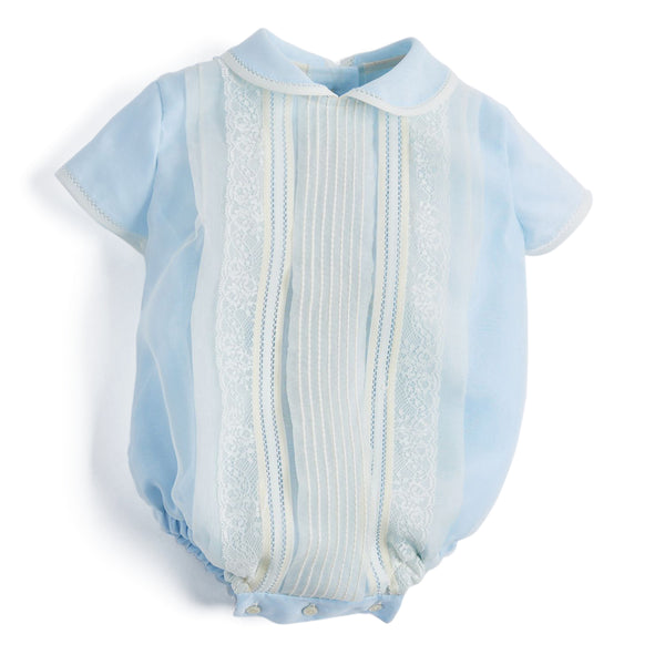 Light Blue Panelled Christening Romper - CHRISTENING ROMPER - PEPA AND CO