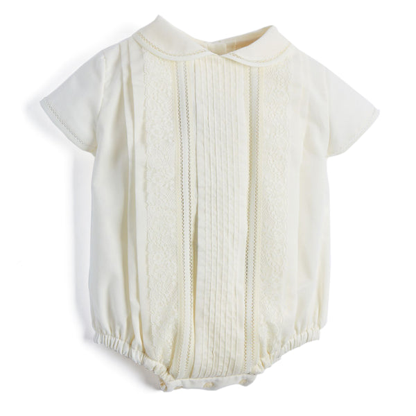 Ivory Panelled Christening Romper - CHRISTENING ROMPER - PEPA AND CO