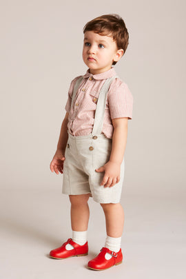 Beige Linen Shorts with Braces - Shorts - PEPA AND CO