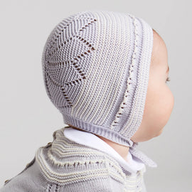 Delicate Grey Cotton Knit Bonnet - Bonnet - PEPA AND CO