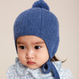 Blue Knitted Winter Bonnet - KNITTED ACC - PEPA AND CO