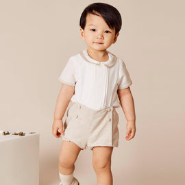 Baby Boy Celebration Beige Bloomers and Linen Shirt Set - Set - PEPA AND CO