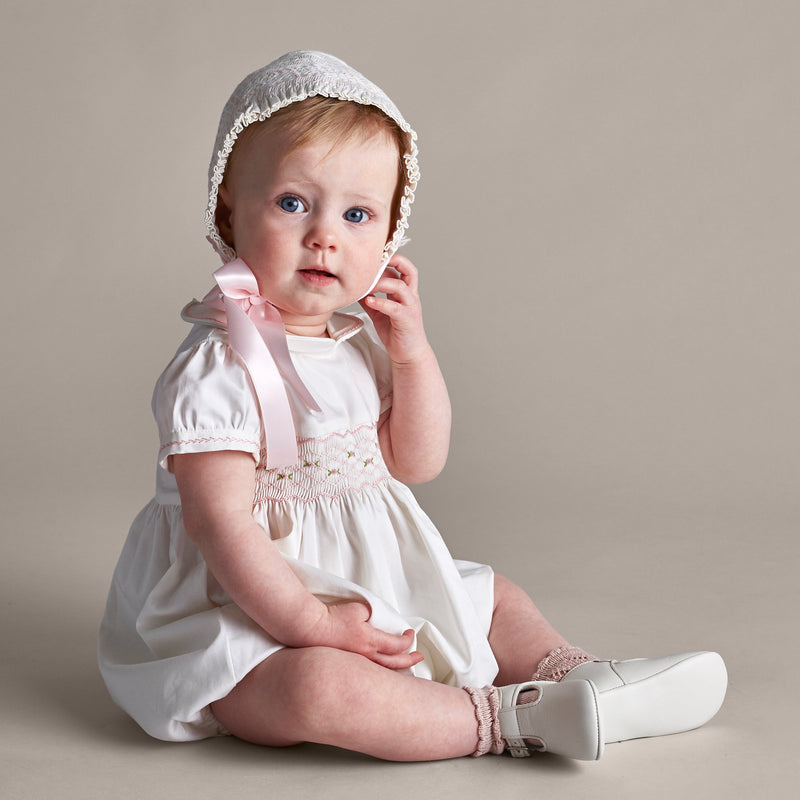 Off White and Pink Handsmocked Baby Bonnet - Bonnet - PEPA AND CO