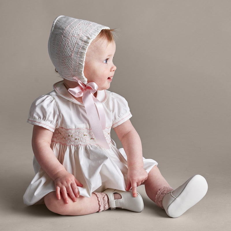 Off White and Pink Handsmocked Baby Bonnet