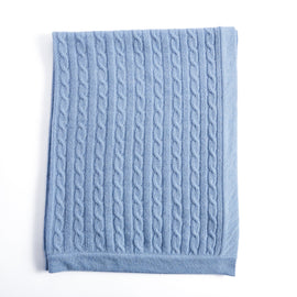 Blue Cashmere Pram Blanket - Knitted Acc - PEPA AND CO