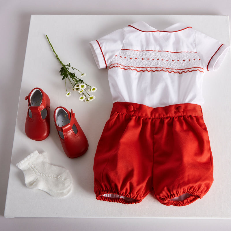 Red Striped Handsmocked Cotton Bloomers Set - Set - PEPA AND CO