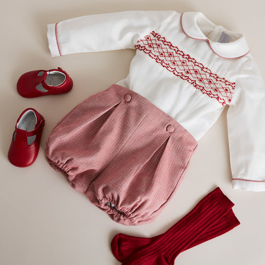Red Handsmocked Shirt & Bloomer Set - SET - PEPA AND CO