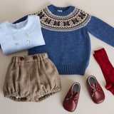 Blue Knitted Jumper with Navy Fairisle Design - KNITTED - PEPA AND CO