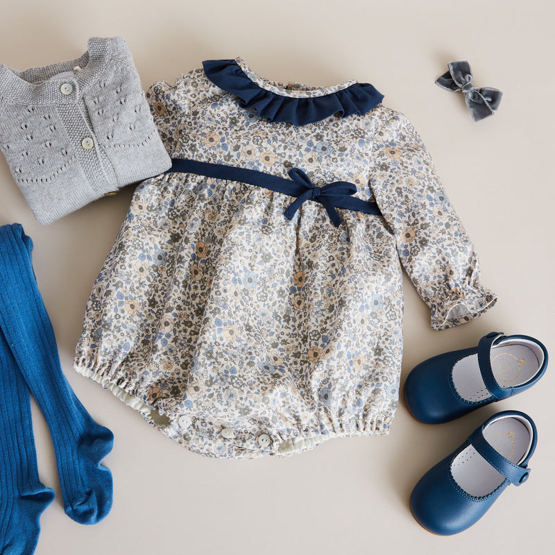 Blue Floral Cotton Romper - ROMPER - PEPA AND CO