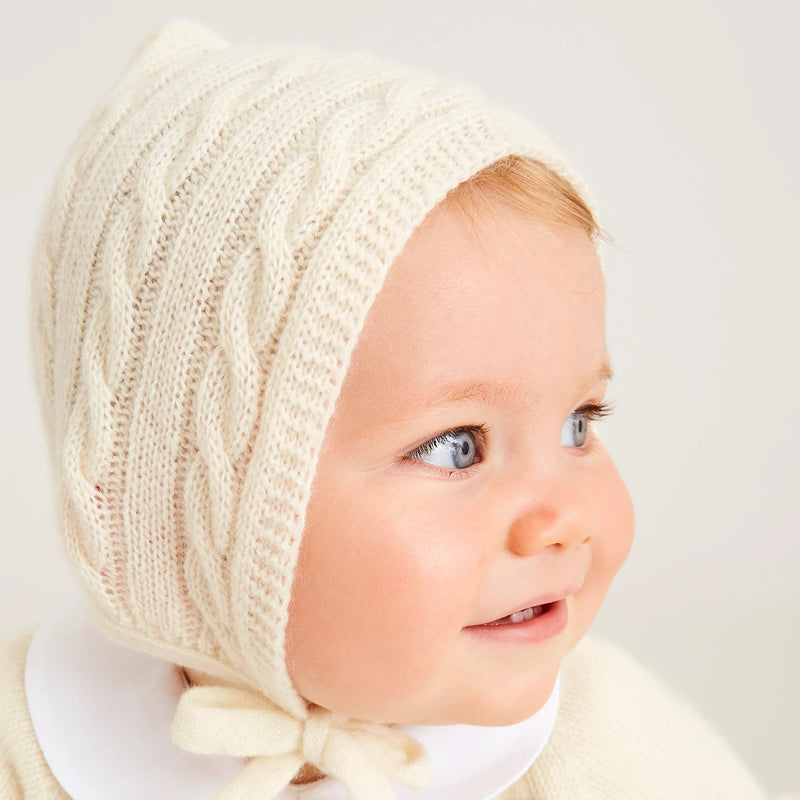 White Cashmere Knitted Bonnet - Bonnet - PEPA AND CO